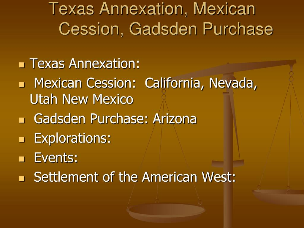 Texas Annexation, Mexican Cession, Gadsden Purchase
