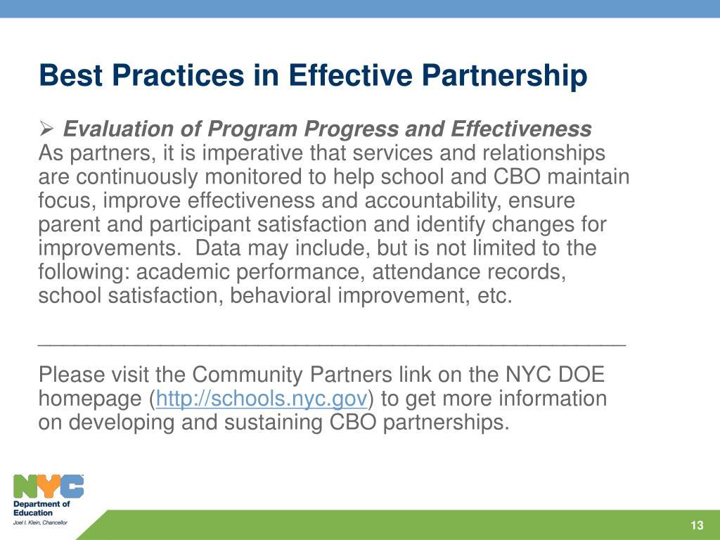 Best Practices in Effective Partnership
