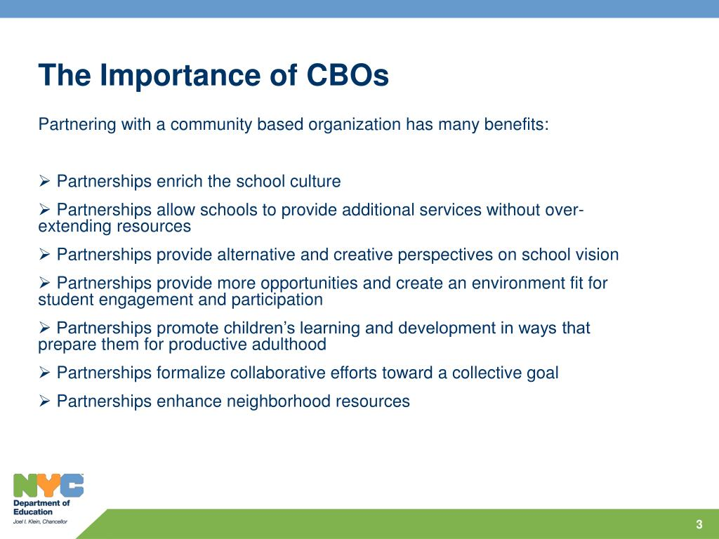The Importance of CBOs