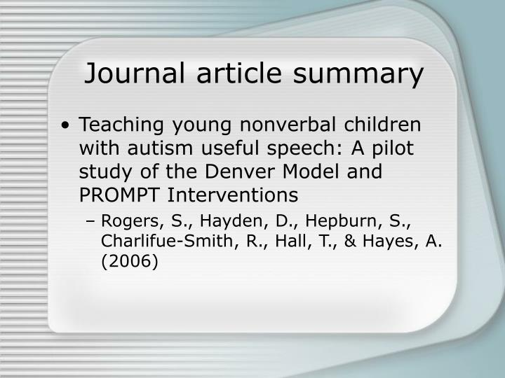Journal article summary