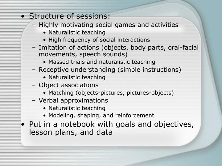 Structure of sessions: