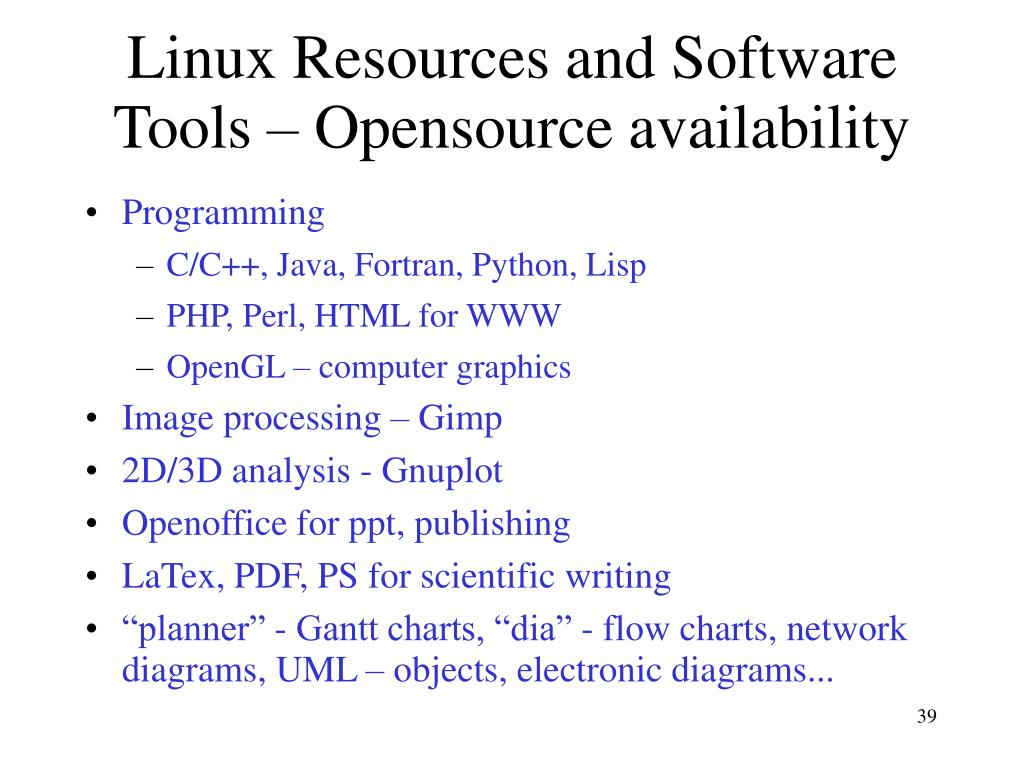 Linux Resources and Software Tools – Opensource availability