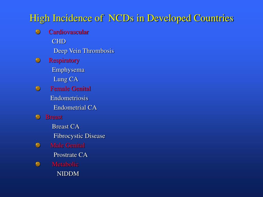 High Incidence of  NCDs in Developed Countries