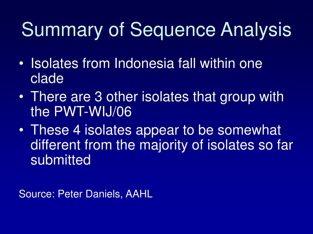 Summary of Sequence Analysis