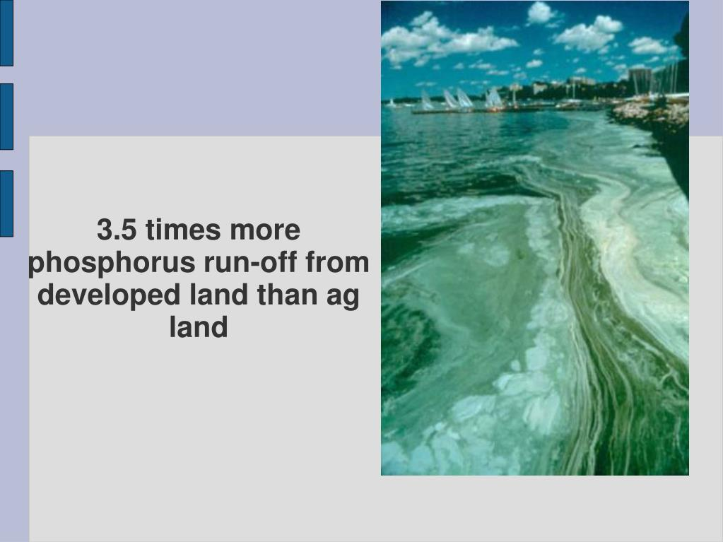 3.5 times more phosphorus run-off from developed land than ag land