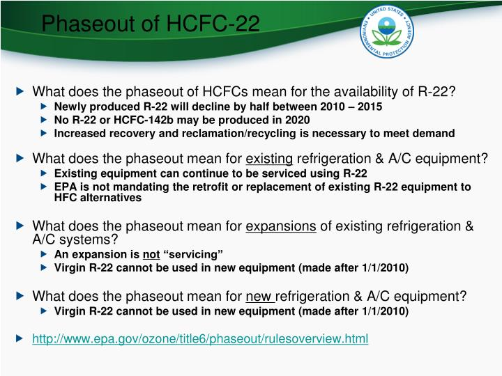 Phaseout of HCFC-22