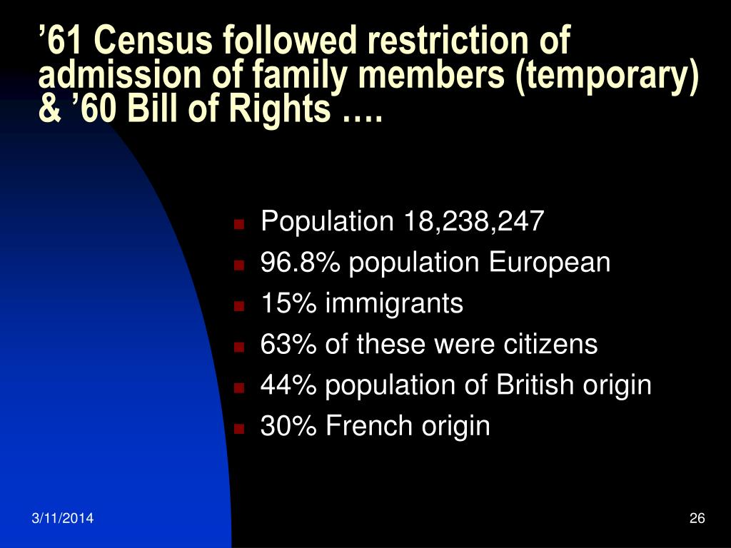 '61 Census followed restriction of admission of family members (temporary) & '60 Bill of Rights ….