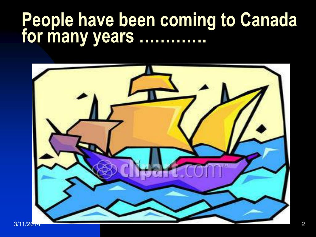 People have been coming to Canada for many years ………….