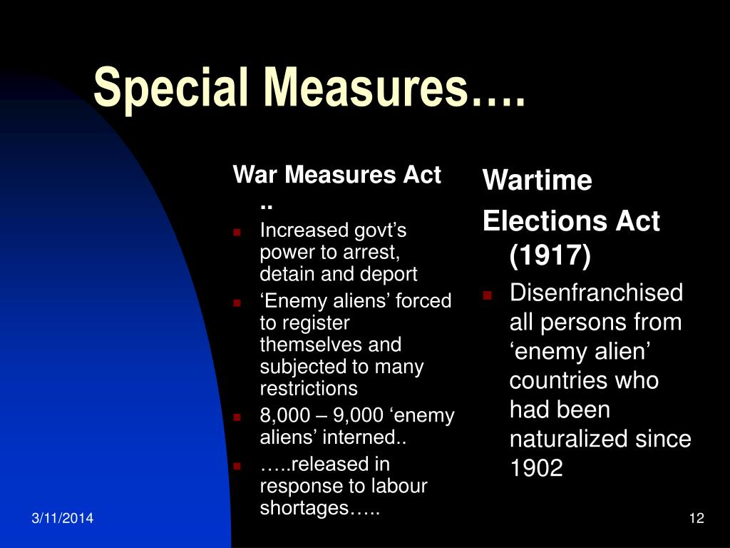 War Measures Act ..