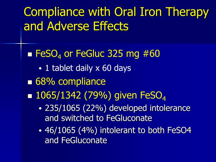 Compliance with Oral Iron Therapy and Adverse Effects