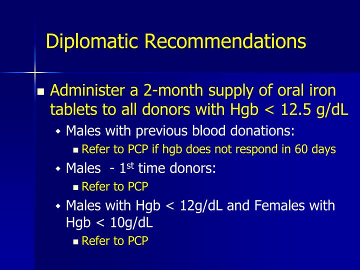 Diplomatic Recommendations