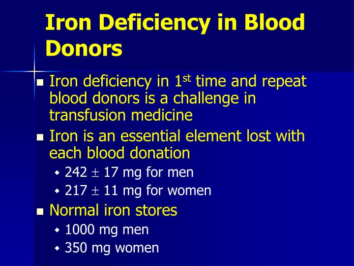 Iron deficiency in blood donors