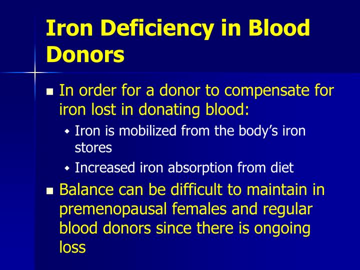 Iron deficiency in blood donors1
