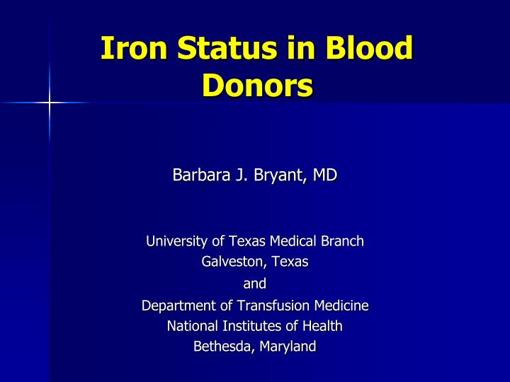 Iron status in blood donors