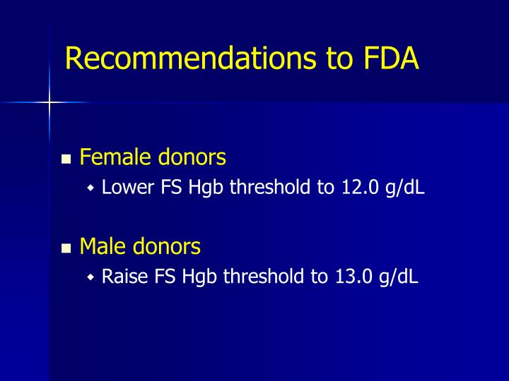 Recommendations to FDA