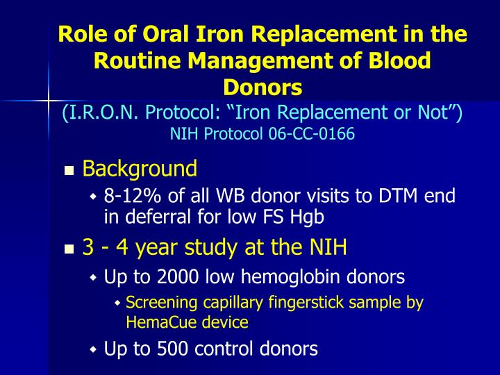 Role of Oral Iron Replacement in the Routine Management of Blood Donors