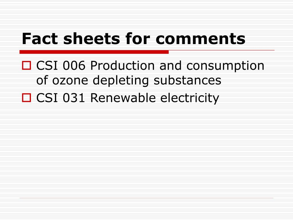 Fact sheets for comments