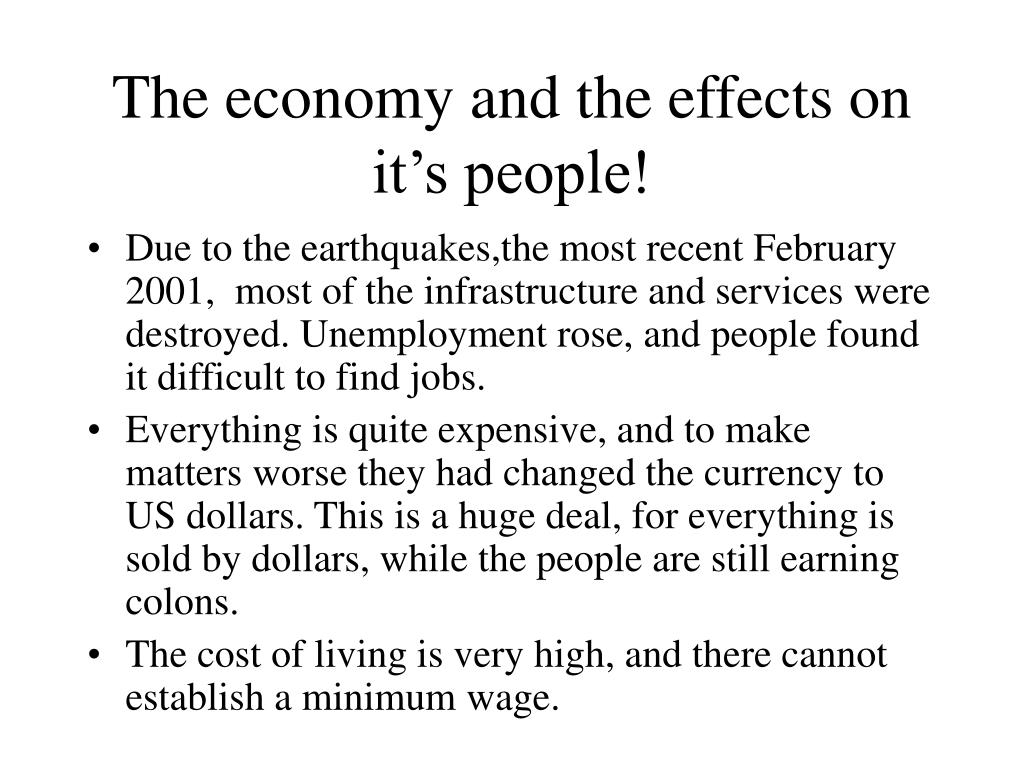 The economy and the effects on it's people!