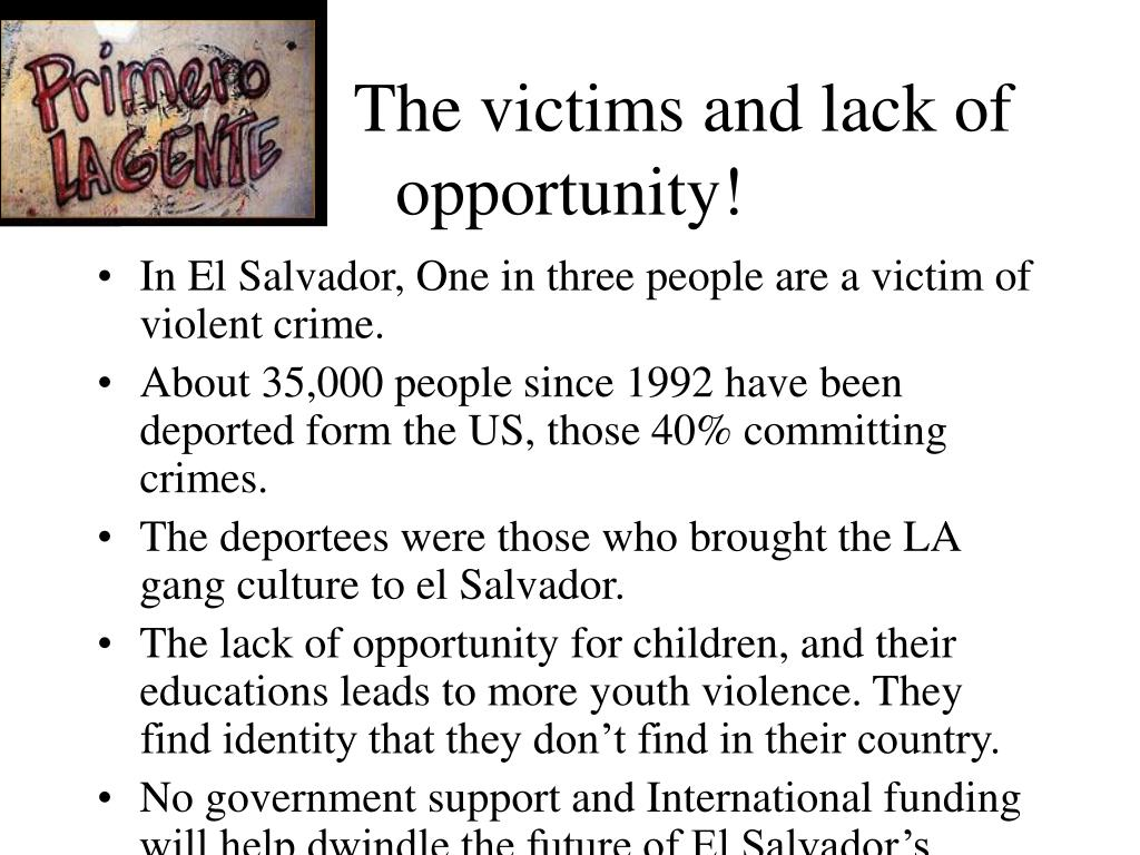 The victims and lack of            opportunity!