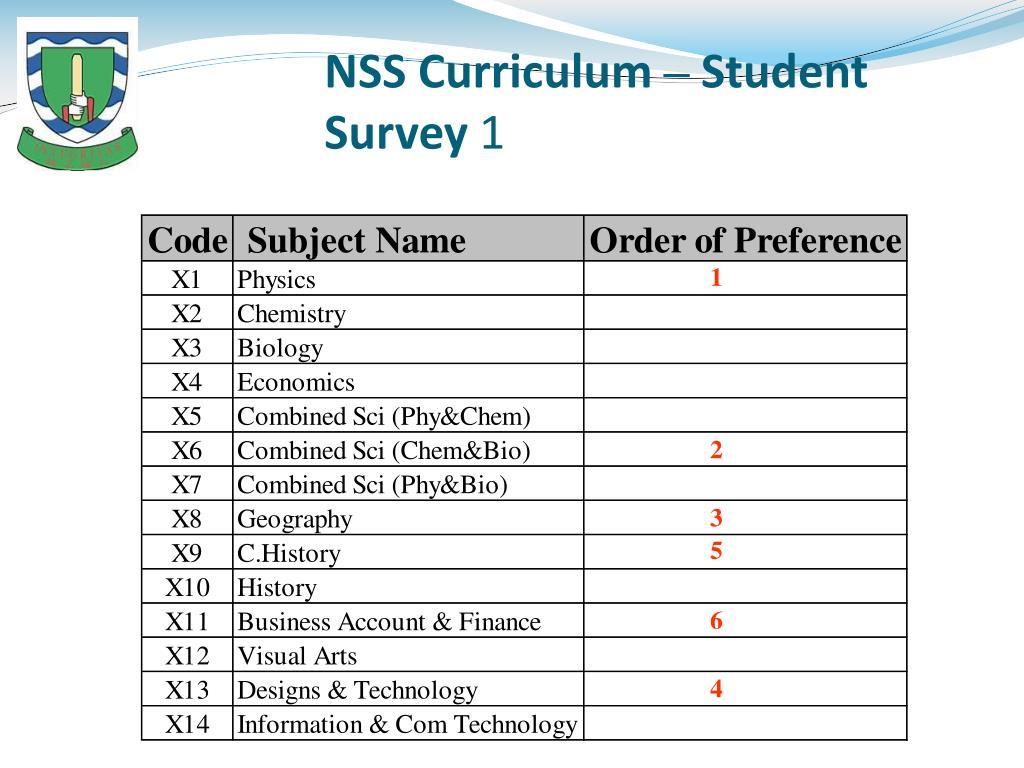 NSS Curriculum