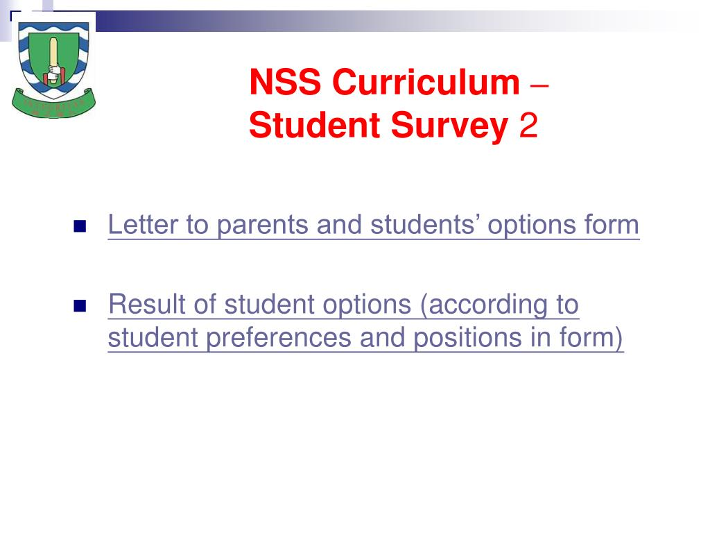 NSS Curriculum – Student Survey