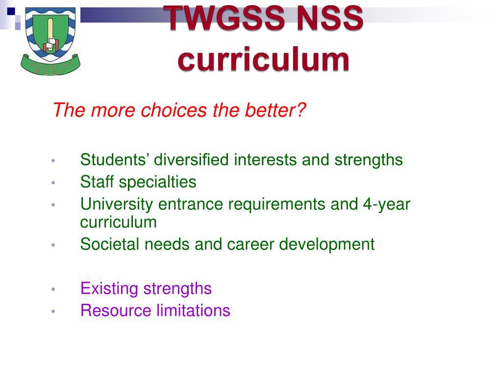 TWGSS NSS curriculum