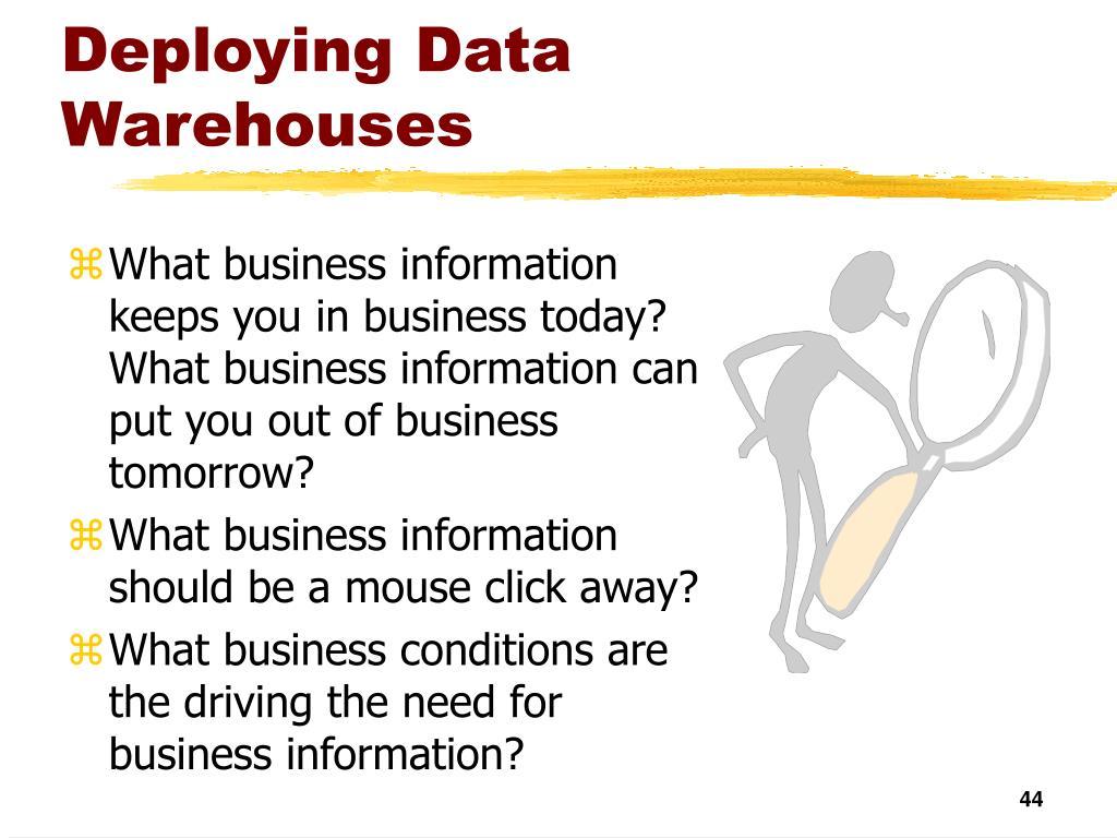 Deploying Data Warehouses