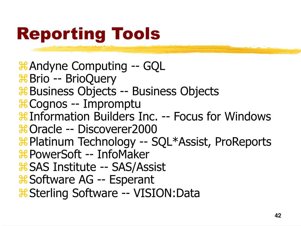 Reporting Tools