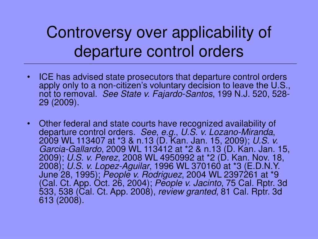 Controversy over applicability of departure control orders