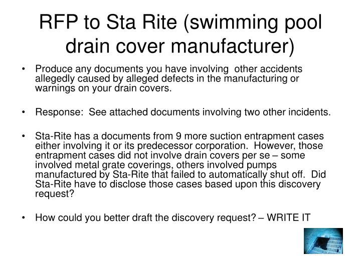 RFP to Sta Rite (swimming pool drain cover manufacturer)