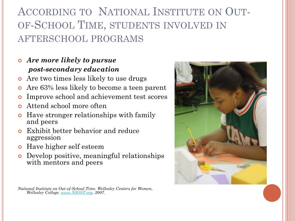 According to  National Institute on Out-of-School Time, students involved in afterschool programs