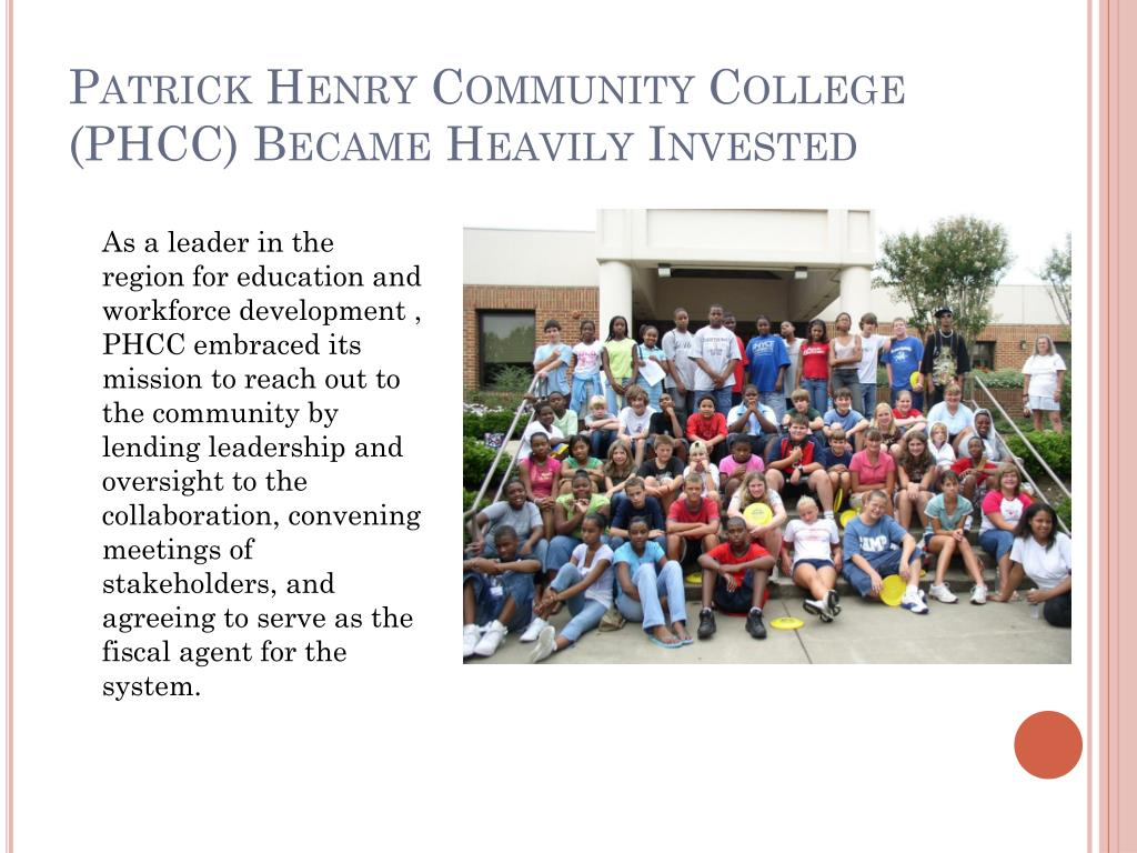 Patrick Henry Community College (PHCC) Became Heavily Invested