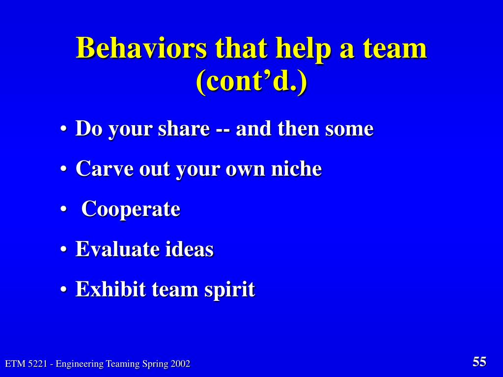 Behaviors that help a team (cont'd.)