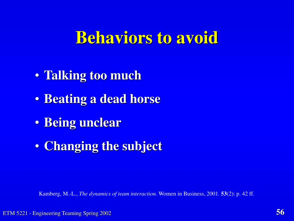Behaviors to avoid