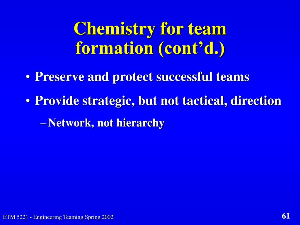 Chemistry for team formation (cont'd.)