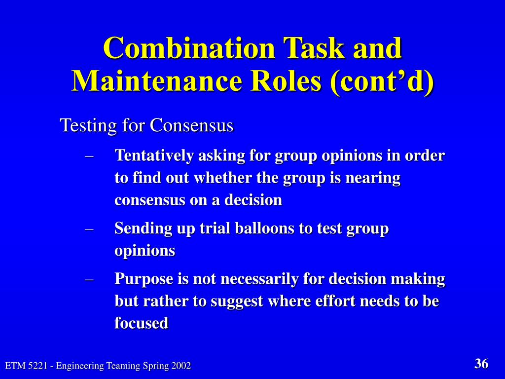Combination Task and Maintenance Roles (cont'd)