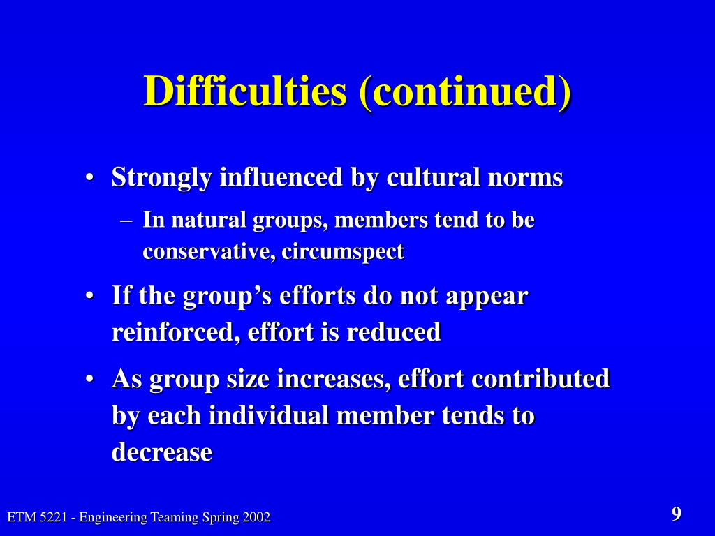 Difficulties (continued)