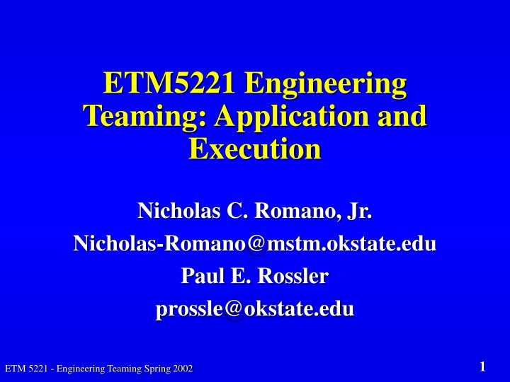 Etm5221 engineering teaming application and execution