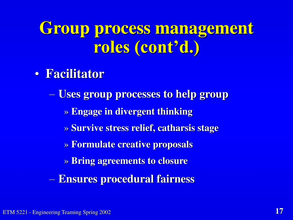 Group process management roles (cont'd.)