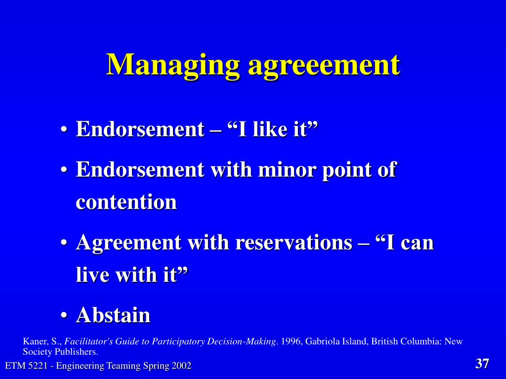Managing agreeement