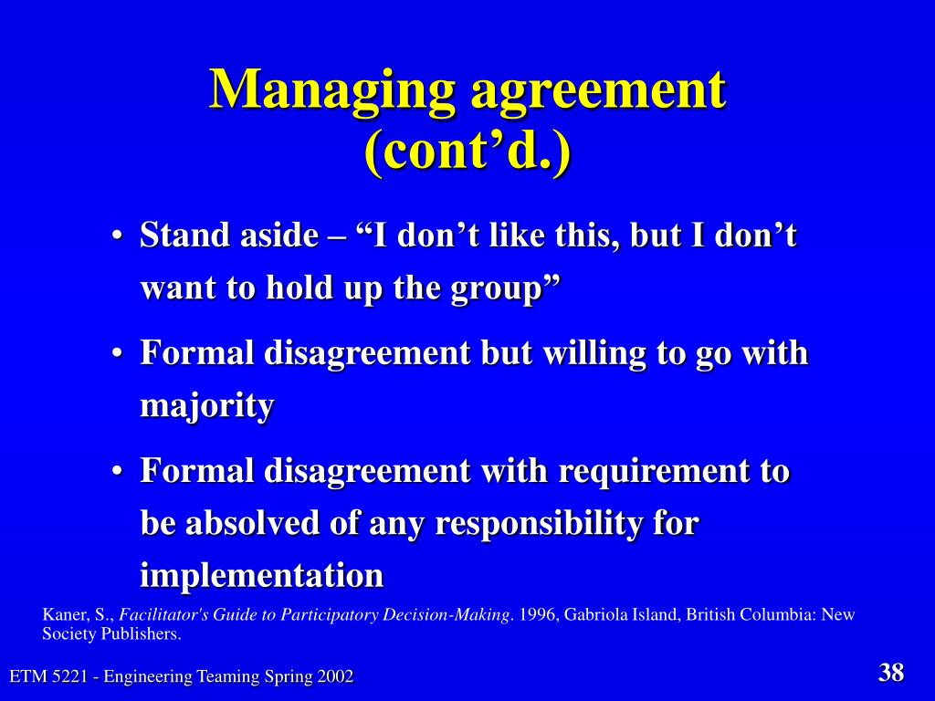 Managing agreement (cont'd.)