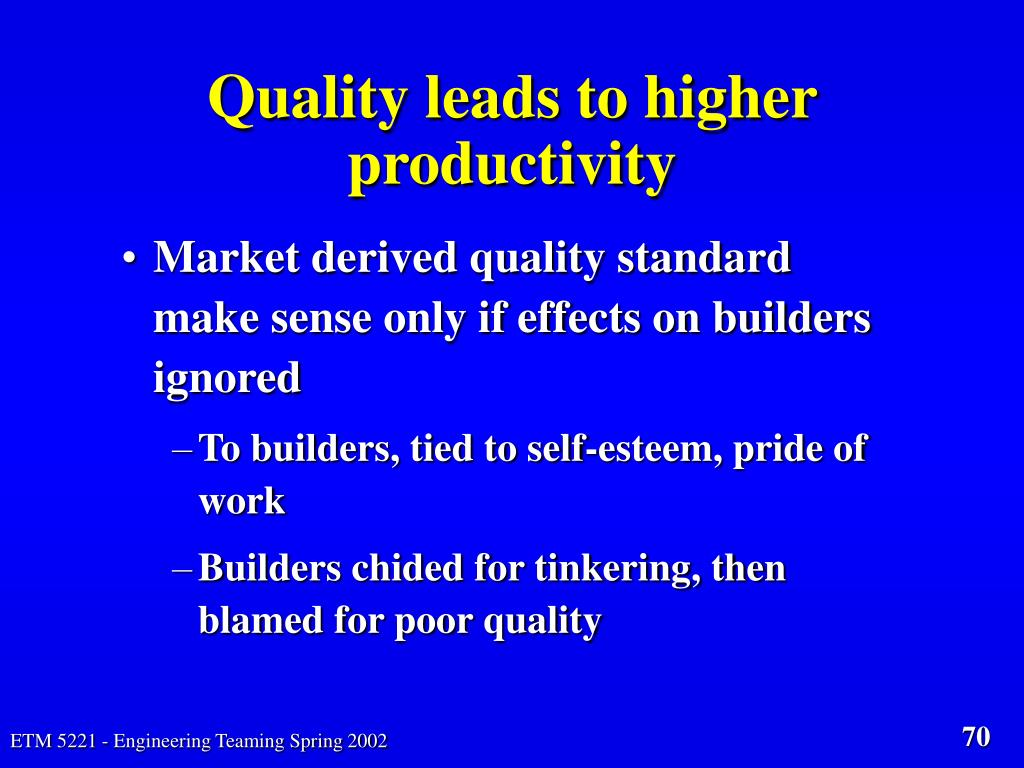 Quality leads to higher productivity