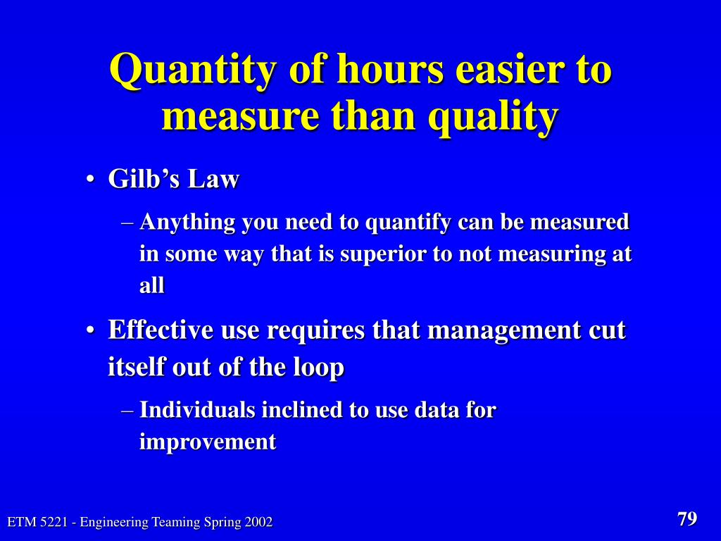 Quantity of hours easier to measure than quality
