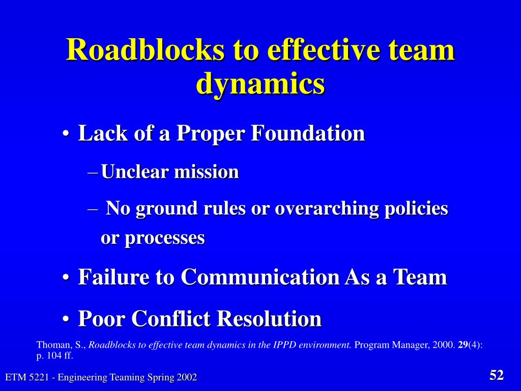 Roadblocks to effective team dynamics