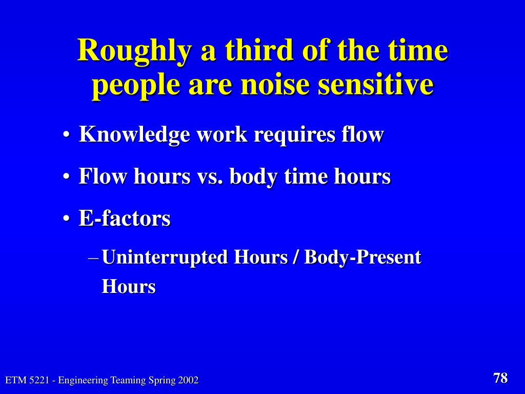 Roughly a third of the time people are noise sensitive
