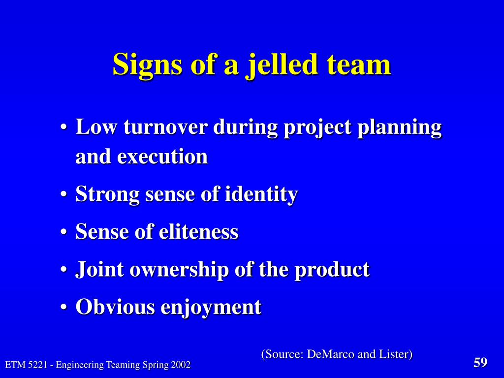 Signs of a jelled team