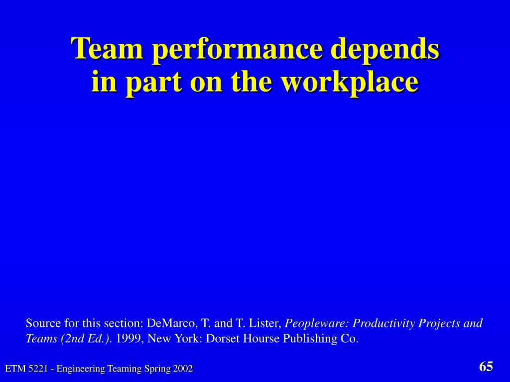 Team performance depends in part on the workplace