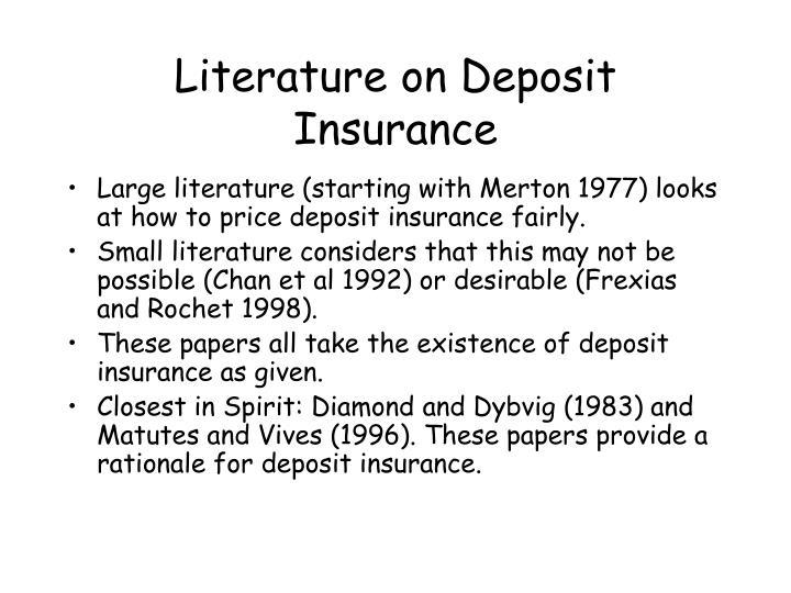 Literature on Deposit Insurance
