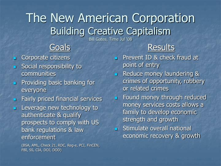 The new american corporation building creative capitalism bill gates time jul 08