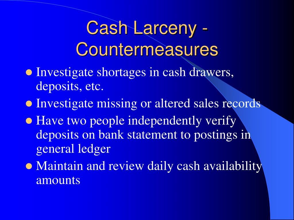 Cash Larceny - Countermeasures